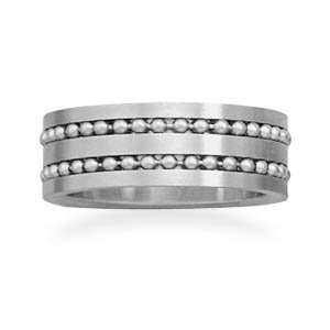 316l Stainless Steel Ring With Double Row Of Beads The Band Is 8mm