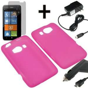 AM Soft Sleeve Gel Cover Skin Case for AT&T HTC Titan II + LCD + Car