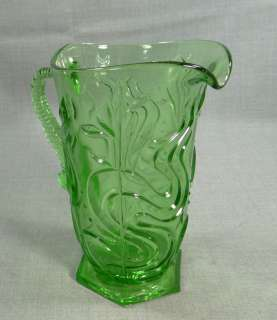BOHEMIAN DEPRESSION GREEN GLASS LEMONADE WINE WATER PITCHER EWER FISH