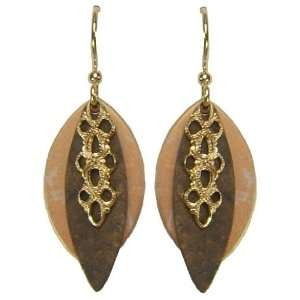 Jody Coyote Cafe Gold Bronze Oval Filigree Drop Earrings