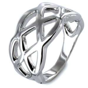 Silvertone Criss Cross Cut Out Ring West Coast Jewelry Jewelry