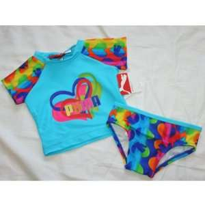 Puma Baby/Infant Girls 2 Piece Swimming Cover Tee & Pants   Cyan Blue