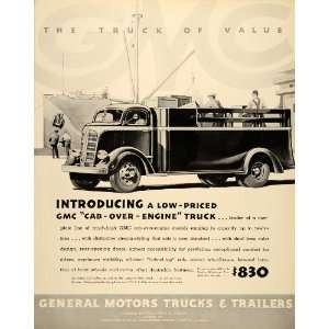 1937 Ad General Motors Trucks Trailers GMC Engine Coach