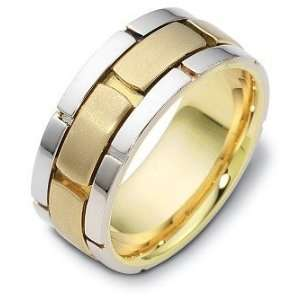 14 Karat Two Tone Gold Link Style Wedding Band Ring   6.25 Jewelry