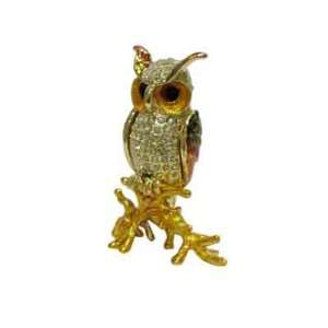 Owl   Jewelry Trinket Box Swarovski Crystal (JF8291)
