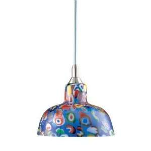 Hampton Bay 1 Light Mini Pendant with Multicolor Art Glass Shade