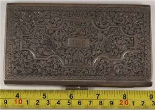 ANTIQUE GERMAN POLISH RUSSIAN SILVER CIGARETTE CASE ENGRAVED FLORAL