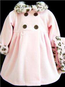 NEW Baby Girls PINK & BROWN LEOPARD Size 18M Dress Coat & Hat