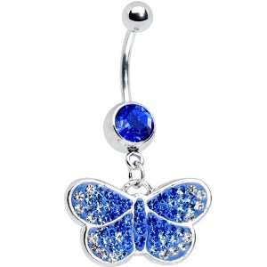 Sapphire Blue Gem Sparkling Butterfly Belly Ring Jewelry