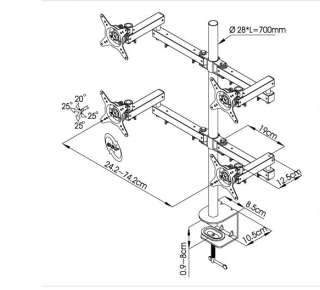 Quad Four LCD Monitor Desk Mount Adjustable Double Arm
