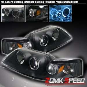 99 04 Ford Mustang Halo Black Projector Headlights 00
