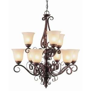 Trans Globe 9 Light Chandelier in Antique Brown Rust Finish   7799 ABR