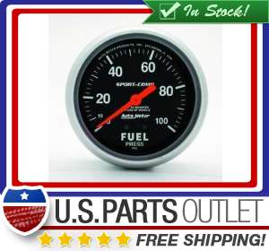 Auto Meter 3412 Sport Comp Mechanical Fuel Pressure Gauge 2 5/8 in