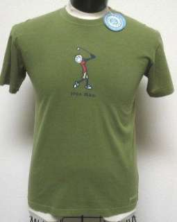 NEW NWT Green LIFE IS GOOD mens S Golf IRON MAN t shirt
