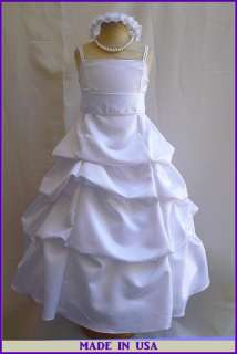 NEW WHITE JUNIOR BRIDESMAID FLOWER GIRL DRESS 4   14