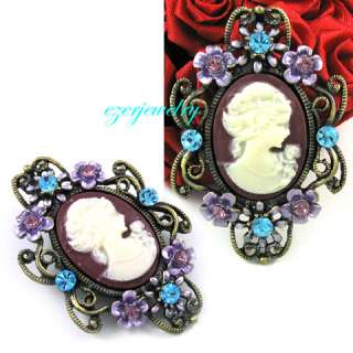 New ANTIQUE STYLE PURPLE CAMEO RHINESTONE PIN BROOCH