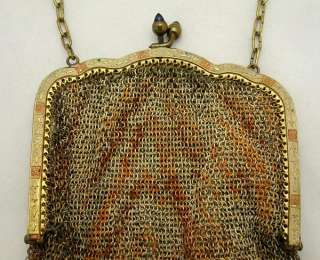 ANTIQUE GERMAN ART DECO MESH BAG PURSE WITH ENAMEL FRAME