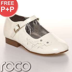 GIRLS IVORY CREAM OFF WHITE FORMAL WEDDING STRAP SHOES