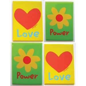 Refrigerator Magnet Set of 4 Magnets Heart Love and Flower Power Fun