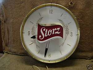 Antique Storz Beer Lighted Clock  Vintage Light Sign