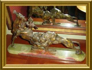 ANTIQUE ART DECO BRONZE & ONYX,HORSE & LION SCULPTURE