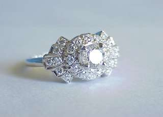 Antique Art Deco 1.10 Ct DIAMOND 14Kt White Gold Wedding Engagement