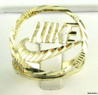 Fashion Ring   10k Solid Yellow Gold Diamond Cut Swoosh Sports