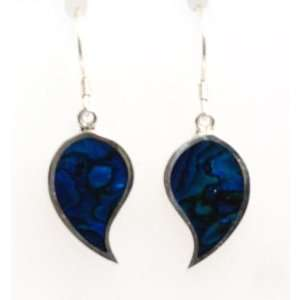 INFERNO Blue Leaf Shape Earrings Set In 925 Silver