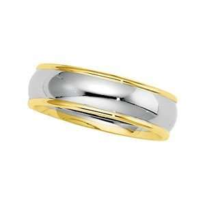Size 07.00 14K White/Yellow Gold Two Tone Comfort Fit Band