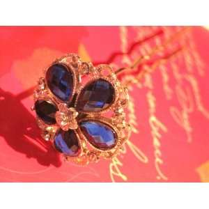 Fashion Rhinestone Flower Hair Pin   Blue With Bonus Beauty