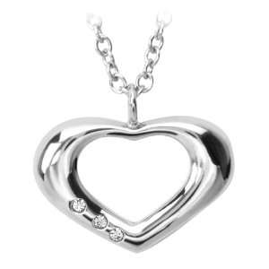 Heart Pendant with Three Small CZ Stones (Pendant Only) Inox Jewelry