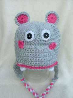 Handmade Crochet Baby/Toddler Hippo Hat You choose size
