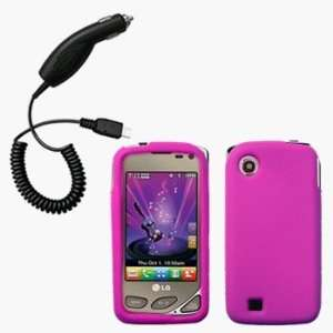 Hot Pink Silicone Case / Skin / Cover & Car Charger for LG Chocolate
