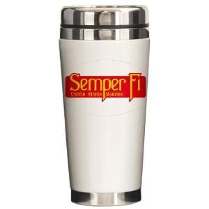 Ceramic Travel Drink Mug Semper Fi Marine Corps