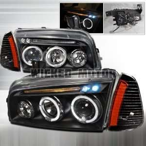 05 07 Dodge Charger Dual Halo LED Projector Headlights