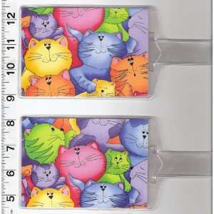 Tags Made with Bright Colorful Kitty Cat Fabric
