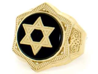 10K SOLID GOLD ONYX STAR OF DAVID ENAMEL MENS RING