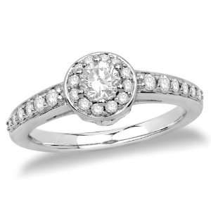14k White Gold Round Diamond Engagement Ring with Pave Diamonds (1/3