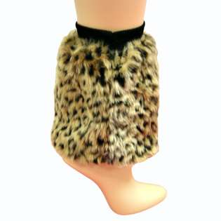 Leopard Animal Print Faux Fur Leg Warmer Muff Boot Cover (L01449