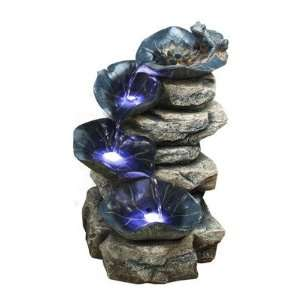 Alpine Four Tier Rock Fountain with LED Lights Patio, Lawn & Garden