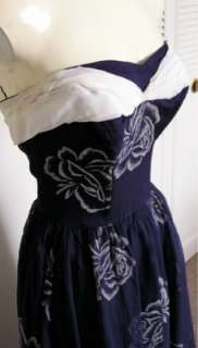 Vtg 40s 50s Navy Floral Chiffon Strapless Ball Prom Gown Dress