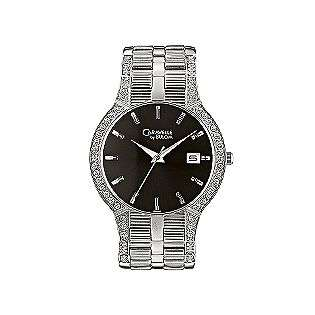 Mens Stainless Steel Watch With Swarovski Crystal Accents. Silver