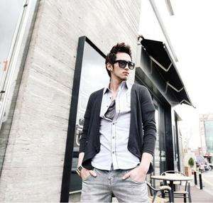 Mens Slim Fit Stylish Knitting Casual Cardigan Black S