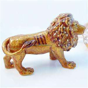 Lion Leo Animal Jewelry Trinket Box Swarovski Crystal Brown Enamel