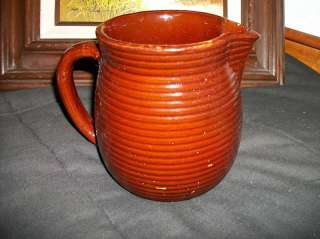 Vintage Brown Monmouth Pottery rings JUG pitcher 6