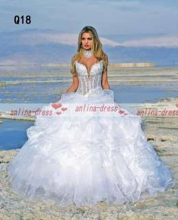 White/Ivory Organza Beads Sweetheart Wedding/Quinceanera Dress Ball