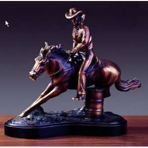 Bronze Plated Resin Western Cowgirl Riding a Horse