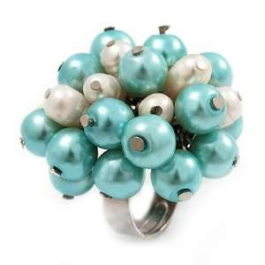 Freshwater Pearl & Bead Cluster Silver Tone Ring (Light Blue & Ivory