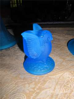 BLUE Owl Toothpick Holder Westmoreland Satin Glass