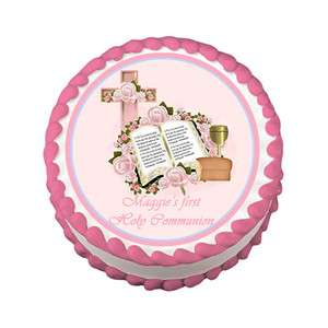 FIRST COMMUNION BAPTISM Round Edible Party Cake Image Topper